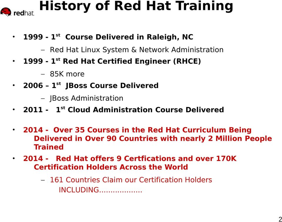 2014 - Over 35 Courses in the Red Hat Curriculum Being Delivered in Over 90 Countries with nearly 2 Million People Trained 2014 - Red