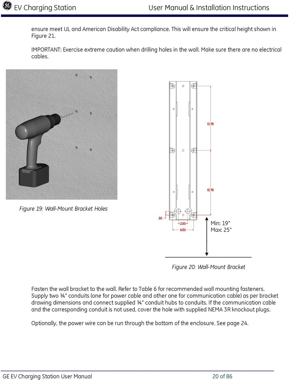 Nema Evse Charging Station User Manual Installation Instructions Pdf Ev Stations Wiring Diagram Ge 20 Of 86 Refer To Table 6 For Recommended Wall Mounting Fasteners