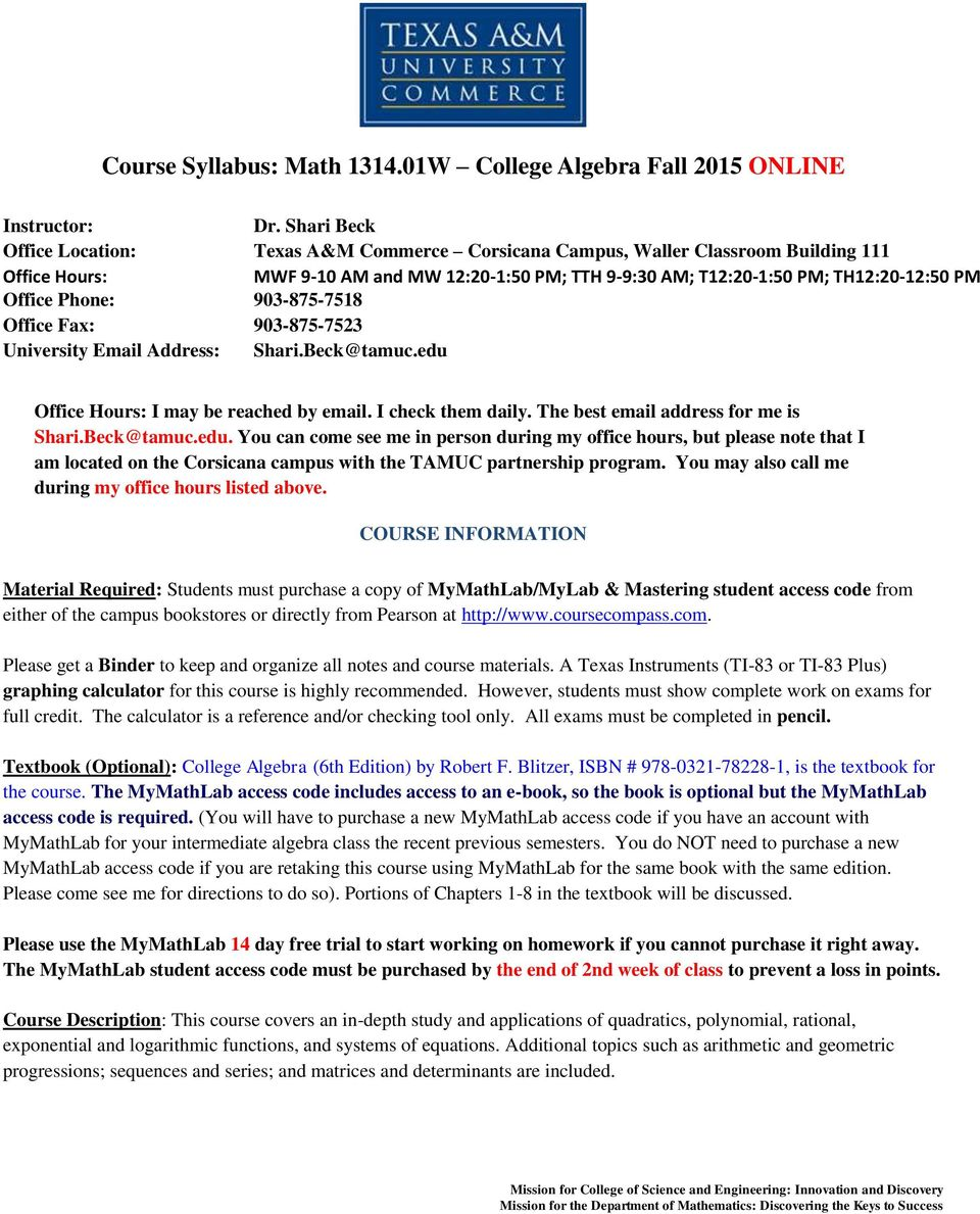 Course Syllabus: Math W College Algebra Fall 2015 ONLINE - PDF