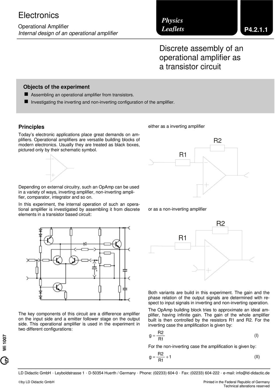 Electronics  Discrete assembly of an operational amplifier
