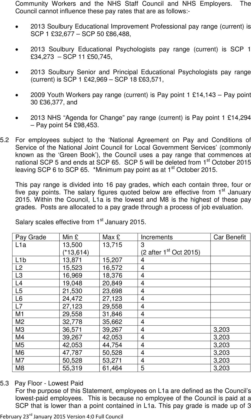 Psychologists pay range (current) is SCP 1 34,273 SCP 11 50,745, 2013 Soulbury Senior and Principal Educational Psychologists pay range (current) is SCP 1 42,969 SCP 18 63,571, 2009 Youth Workers pay