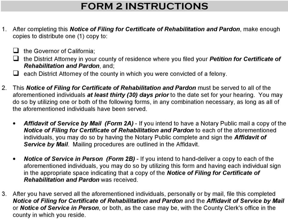 Certificate Of Rehab Pardon Instruction Forms Packet Pdf