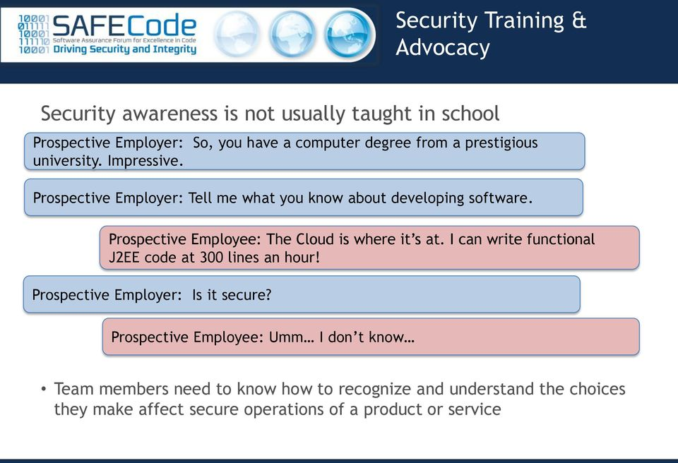 Prospective Employee: The Cloud is where it s at. I can write functional J2EE code at 300 lines an hour!