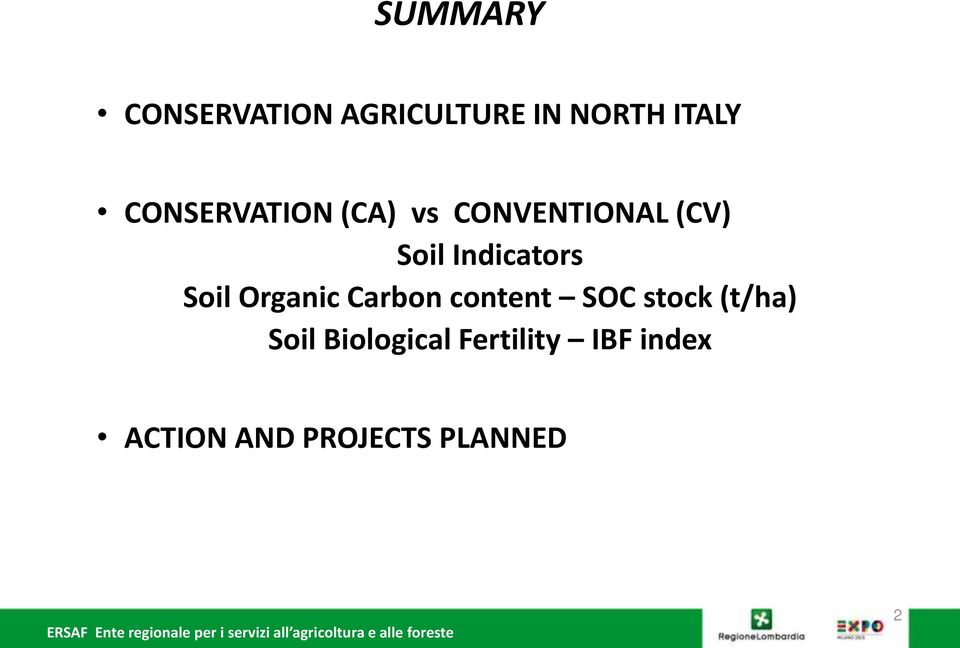Indicators Soil Organic Carbon content SOC stock
