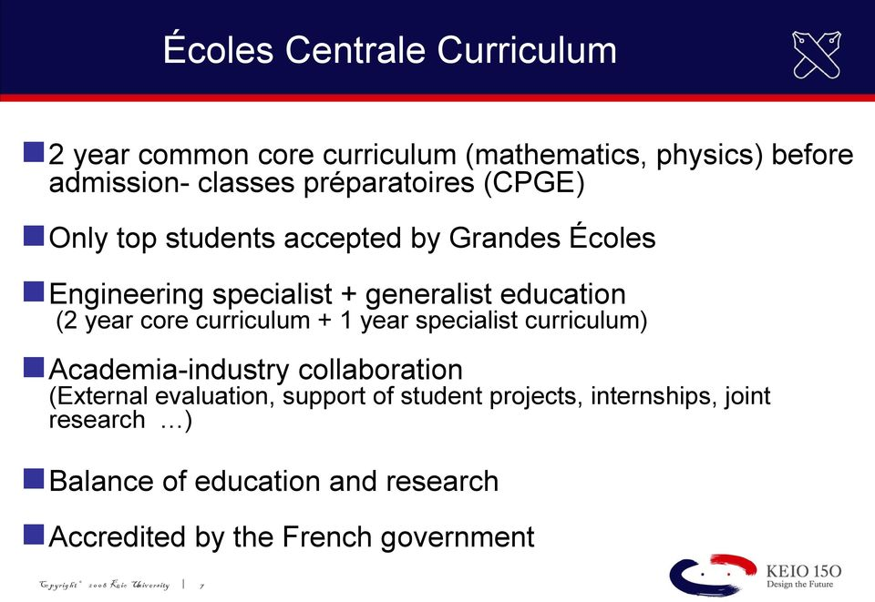 1 year specialist curriculum) Academia-industry collaboration (External evaluation, support of student projects,