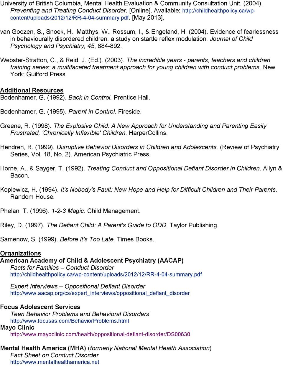 BEHAVIOR DISORDERS OPPOSITIONAL DEFIANT & CONDUCT DISORDERS - PDF