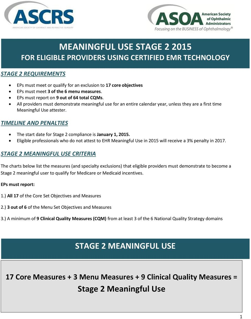 TIMELINE AND PENALTIES The start date for Stage 2 compliance is January 1, 2015. Eligible professionals who do not attest to EHR Meaningful Use in 2015 will receive a 3% penalty in 2017.
