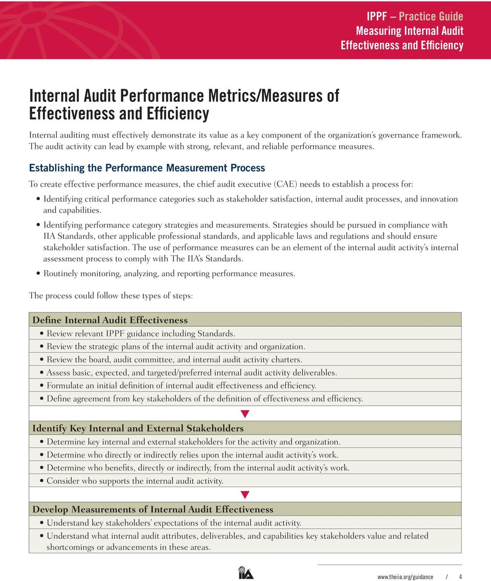 IPPF Practice guide  MeasurINg INterNal audit effectiveness and