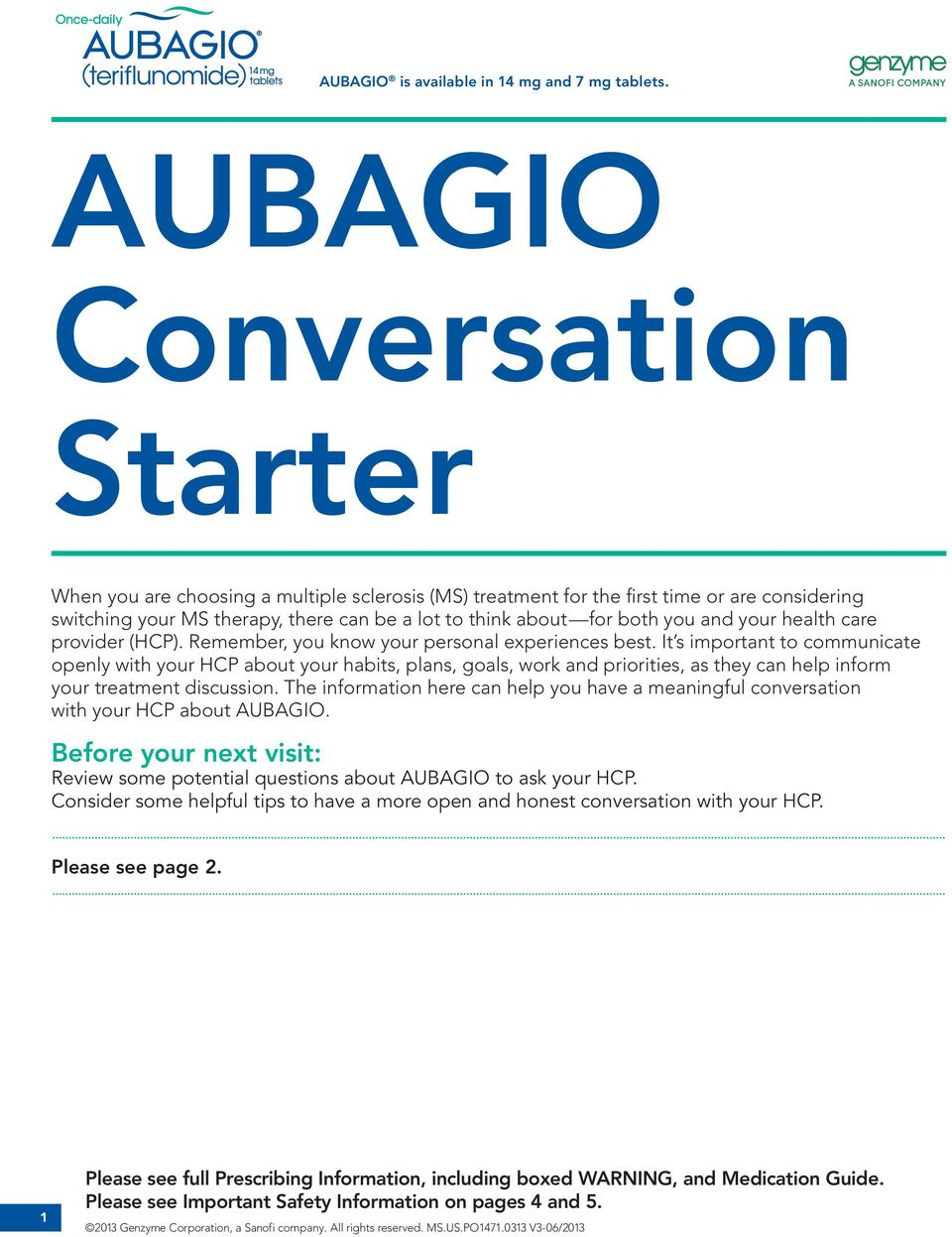 Discussion on this topic: Aubagio, aubagio/