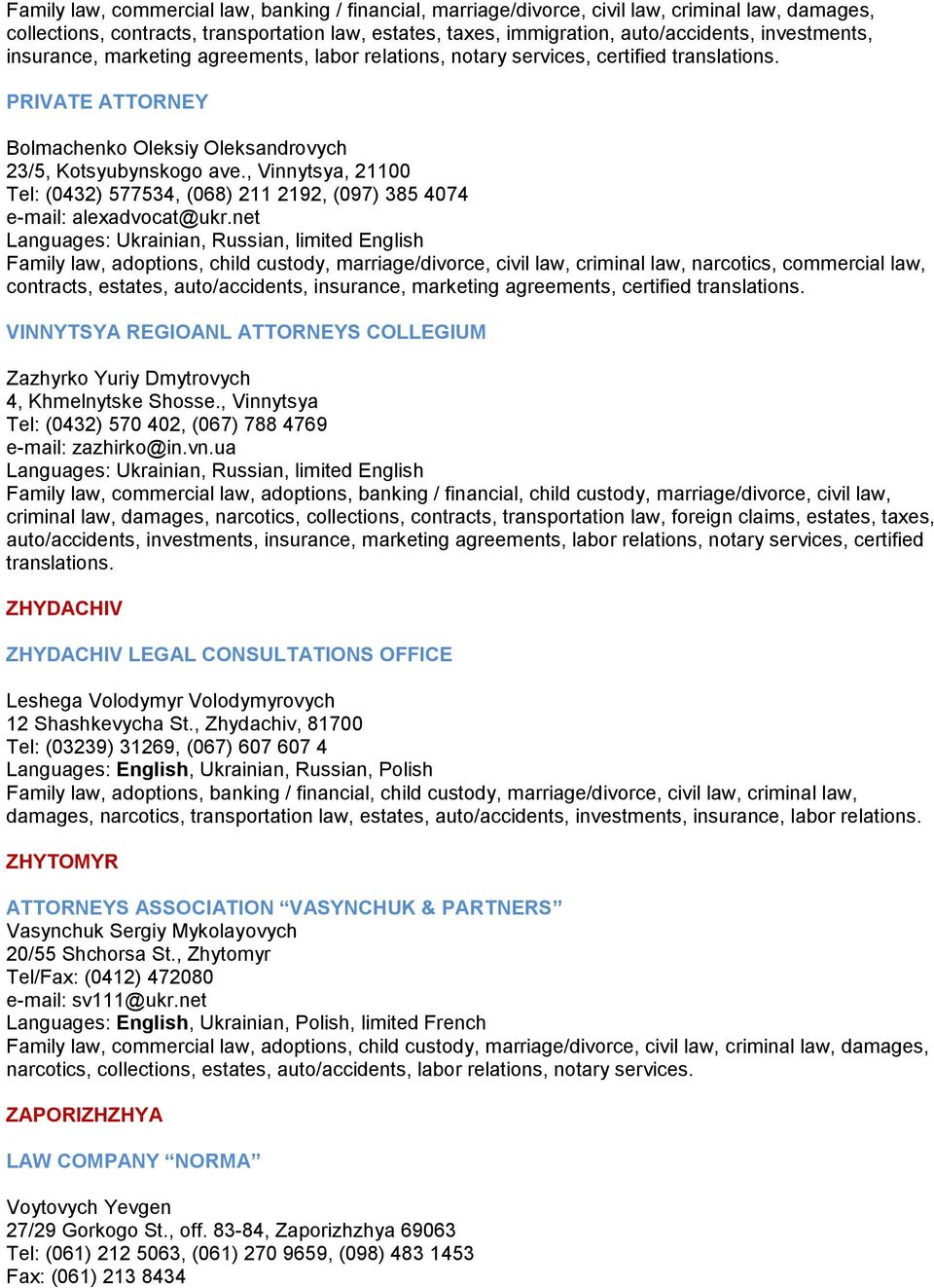 Lawyer services in Uzhgorod region: a selection of sites