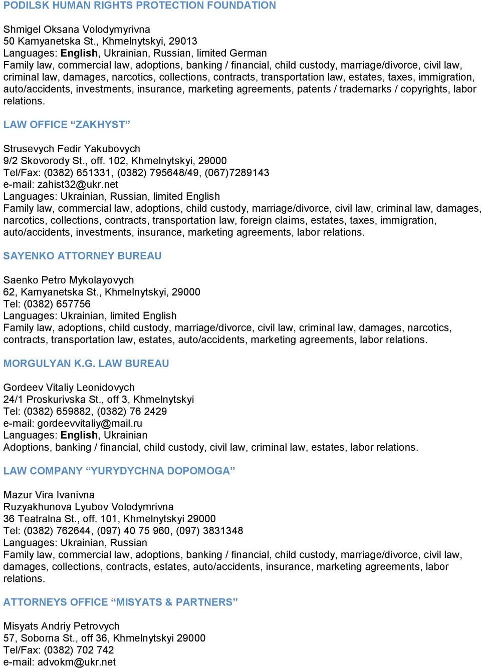 Lawyer services in Lutsk and region: a selection of sites