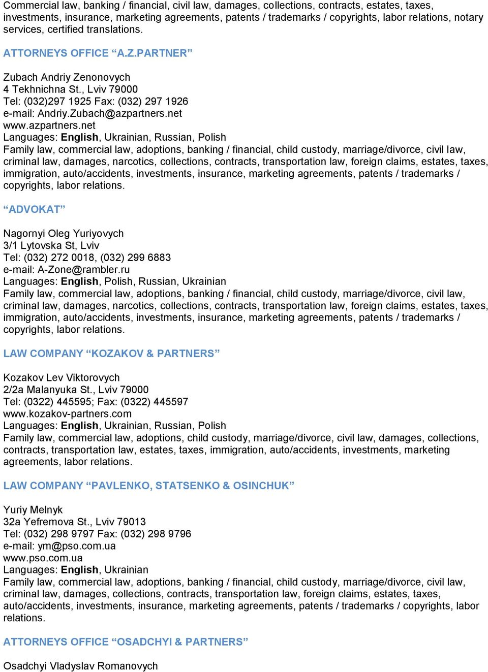 Services of lawyers in Ivano-Frankivsk region: a selection of sites