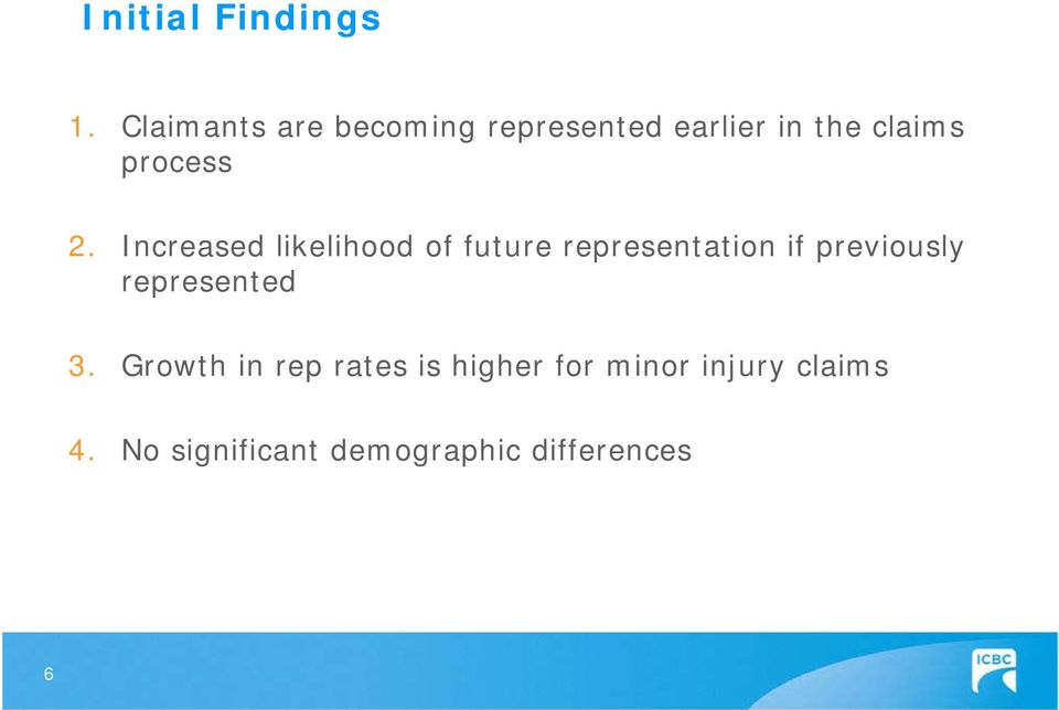 2. Increased likelihood of future representation if previously