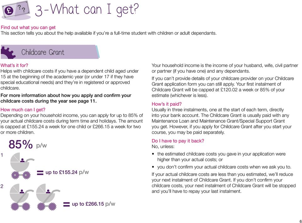 childcare. For more information about how you apply and confirm your childcare costs during the year see page 11. How much can I get?