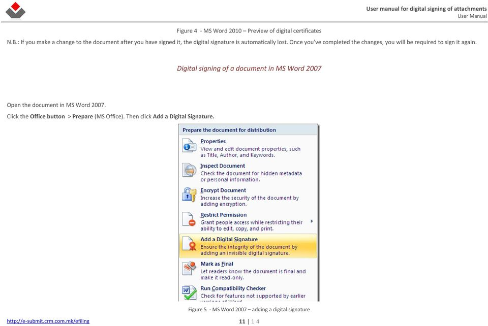 Digital Signing of Attachments in Microsoft Word ( docx) and