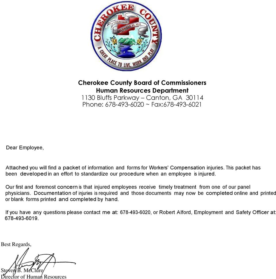 CHEROKEE COUNTY BOC  Workers Compensation Accident Report Packet - PDF