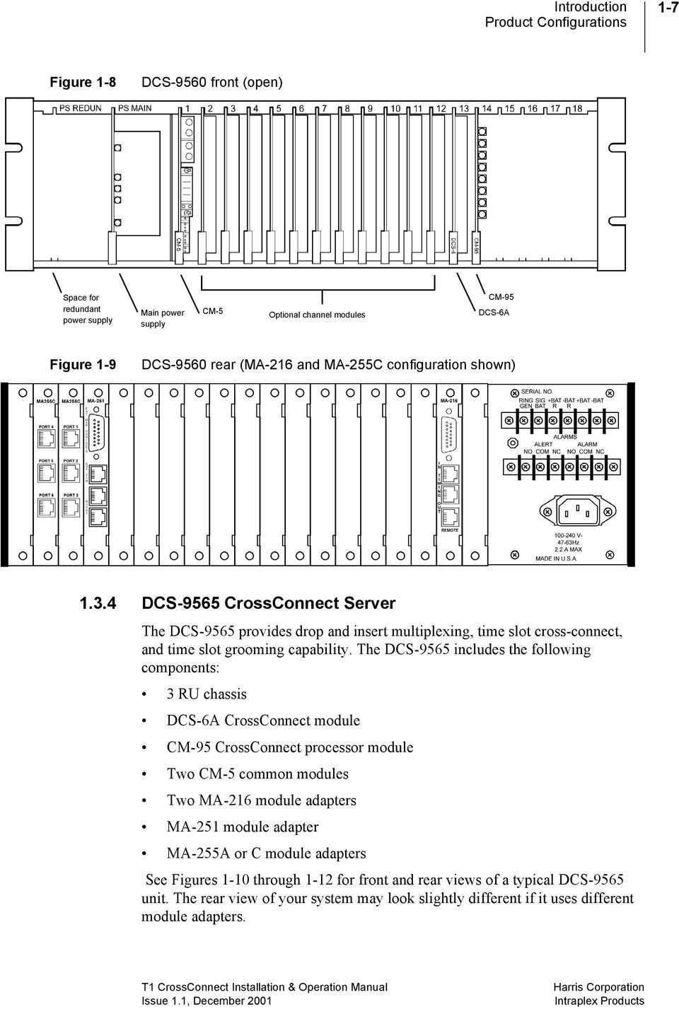 Intraplex T1 Crossconnect System Server Installation And Operation Dcs Wiring Schematic The 9565 Includes Following Components 3 Ru Chassis 6a