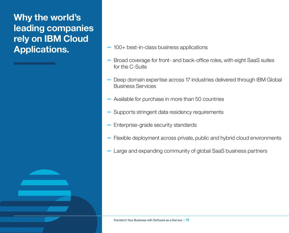 across 17 industries delivered through IBM Global Business Services Available for purchase in more than 50 countries Supports stringent data residency