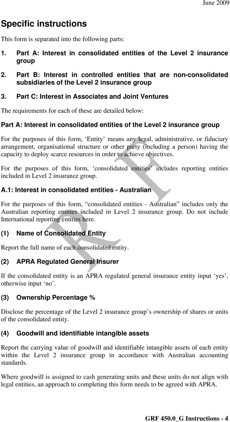 Part C: Interest in Associates and Joint Ventures The requirements for each of these are detailed below: Part A: Interest in consolidated entities of the Level 2 insurance group For the purposes of