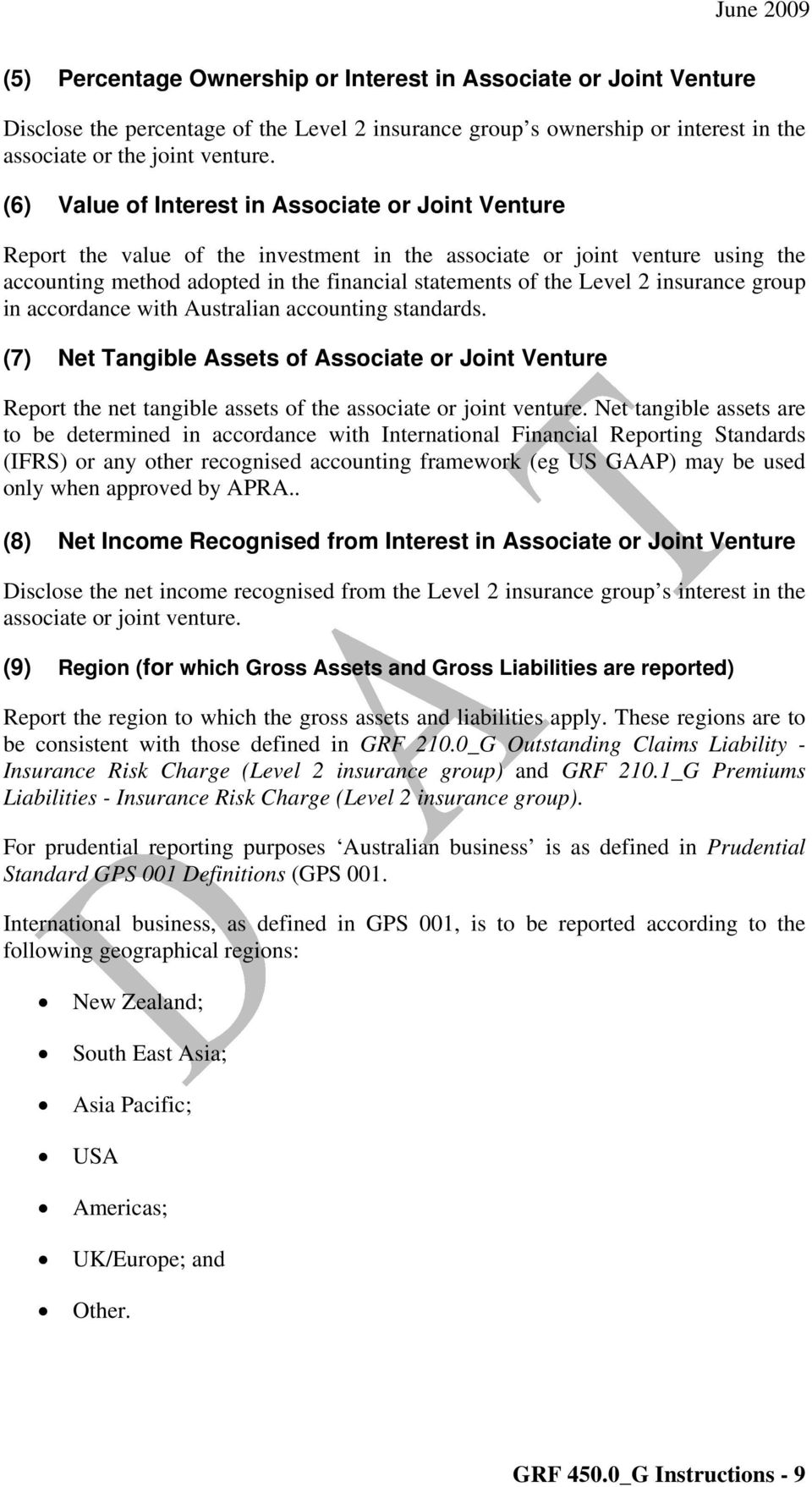 insurance group in accordance with Australian accounting standards. (7) Net Tangible Assets of Associate or Joint Venture Report the net tangible assets of the associate or joint venture.