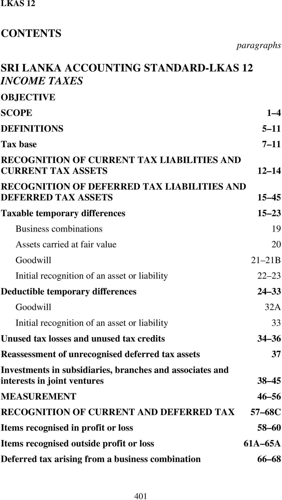 of an asset or liability 22 23 Deductible temporary differences 24 33 Goodwill 32A Initial recognition of an asset or liability 33 Unused tax losses and unused tax credits 34 36 Reassessment of