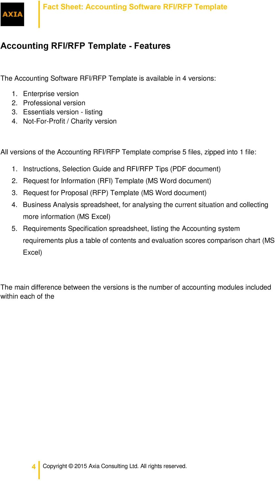 Fact Sheet: Accounting Software RFI/RFP Template - PDF