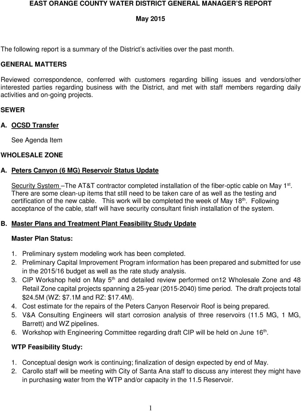 May 18 Board Of Directors East Orange County Water District 185 N 1218 Power King Tractor Wiring Diagram Regarding Daily Activities And On Going Projects Sewer A Ocsd Transfer See Agenda