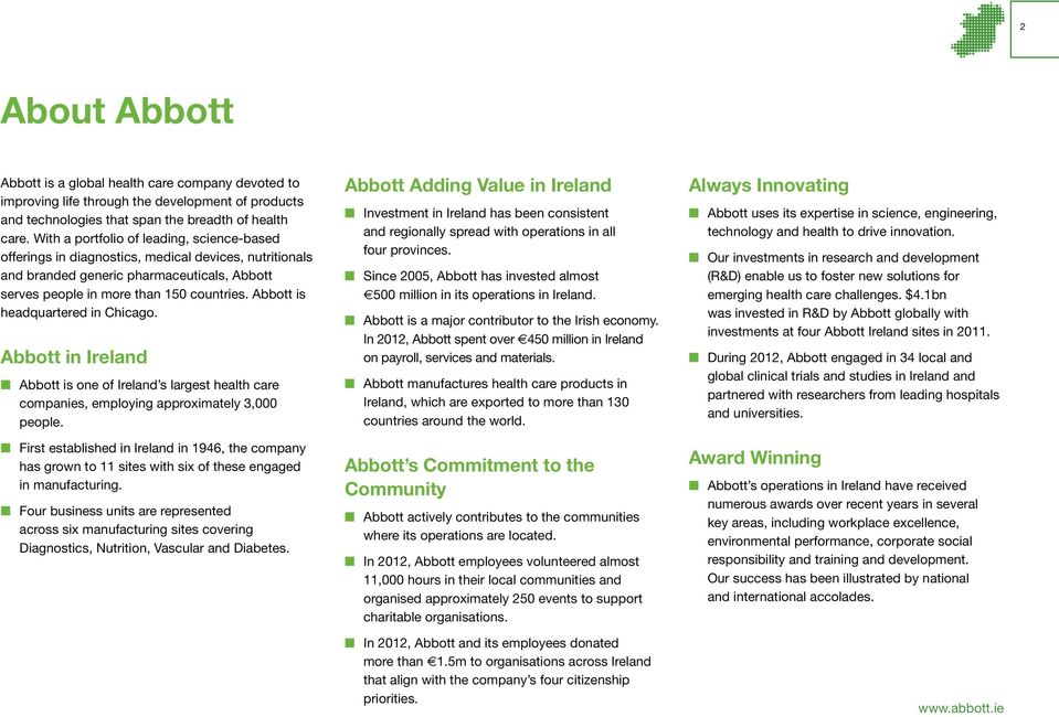 Abbott Is Headquartered In Chicago Ireland One Of S Largest