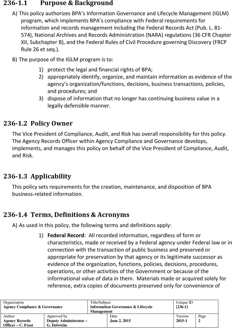 It Et Management Policy Template | Bpa Policy Information Governance Lifecycle Management Pdf