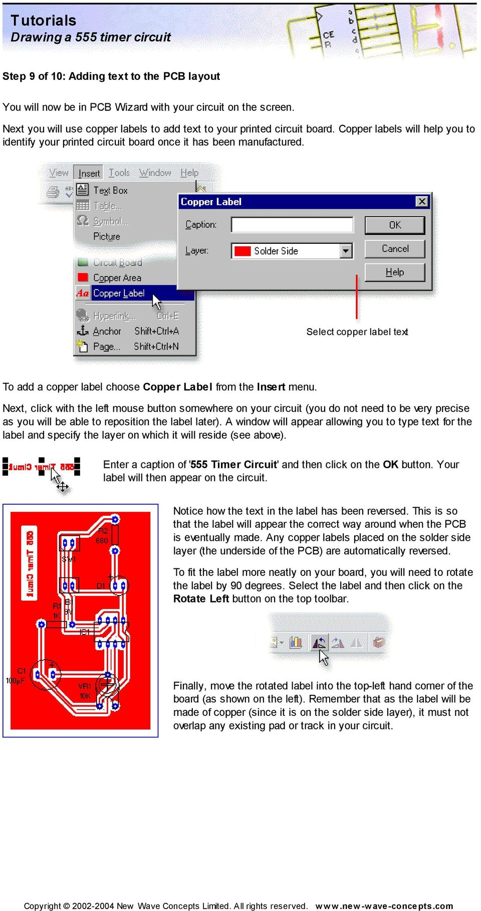 Tutorials Drawing A 555 Timer Circuit Pdf Mouse On Opening It You Will Find Apcb Printed Board As Next Click With The Left Button Somewhere Your Do Not