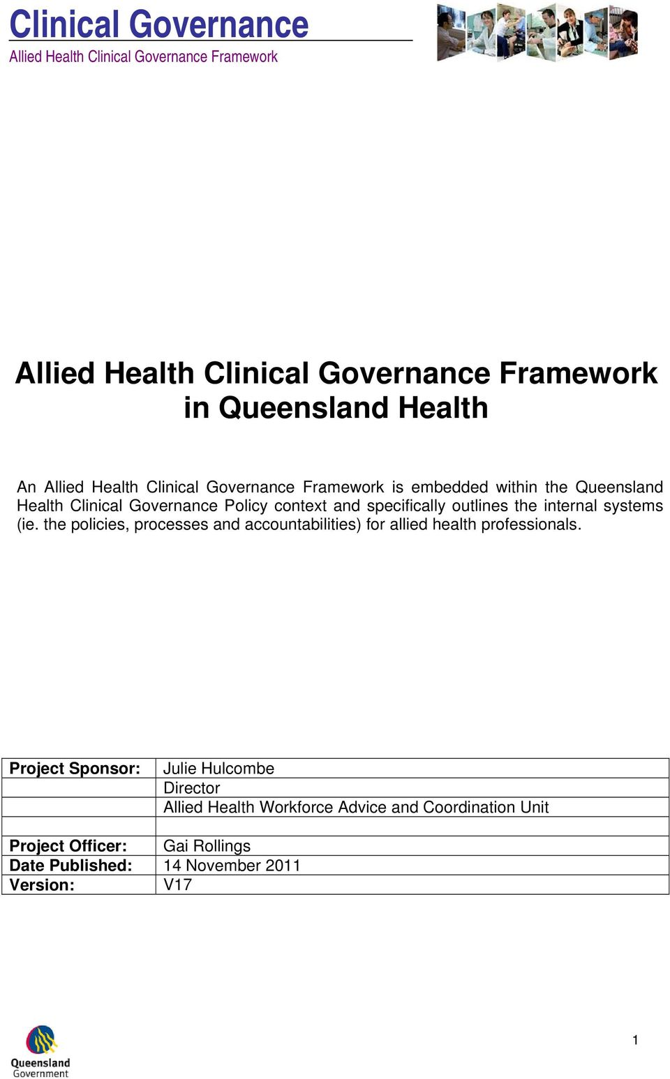 the policies, processes and accountabilities) for allied health professionals.