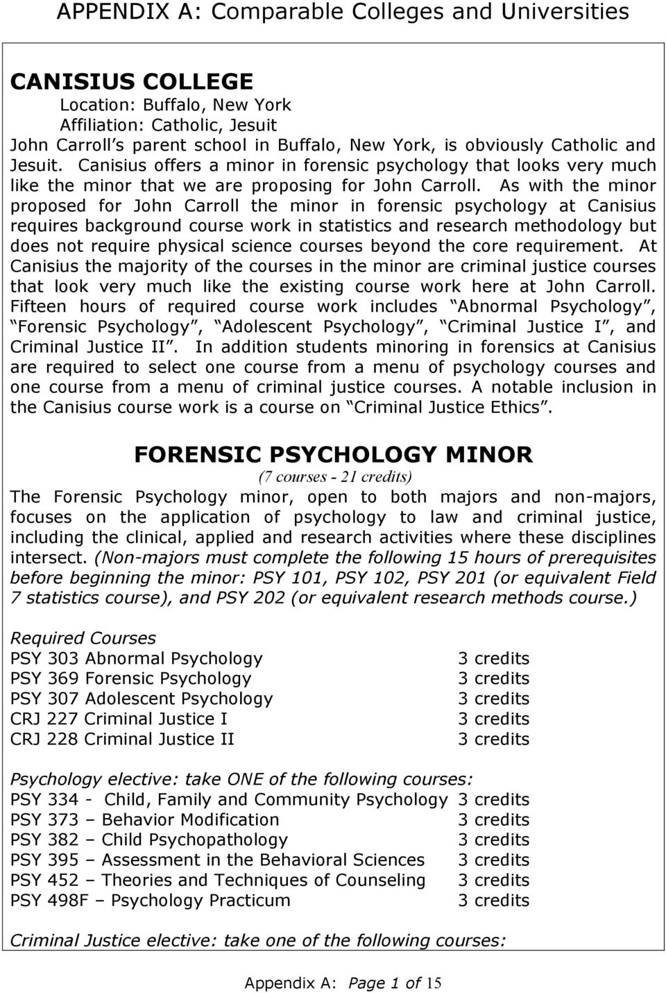As with the minor proposed for John Carroll the minor in forensic psychology at Canisius requires background course work in statistics and research methodology but does not require physical science