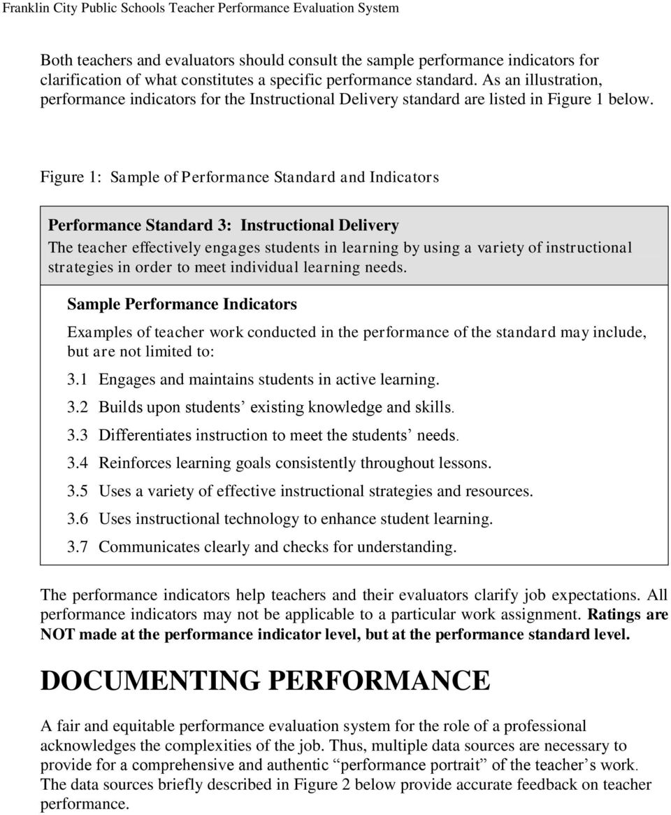 Figure 1: Sample of Performance Standard and Indicators Performance Standard 3: Instructional Delivery The teacher effectively engages students in learning by using a variety of instructional