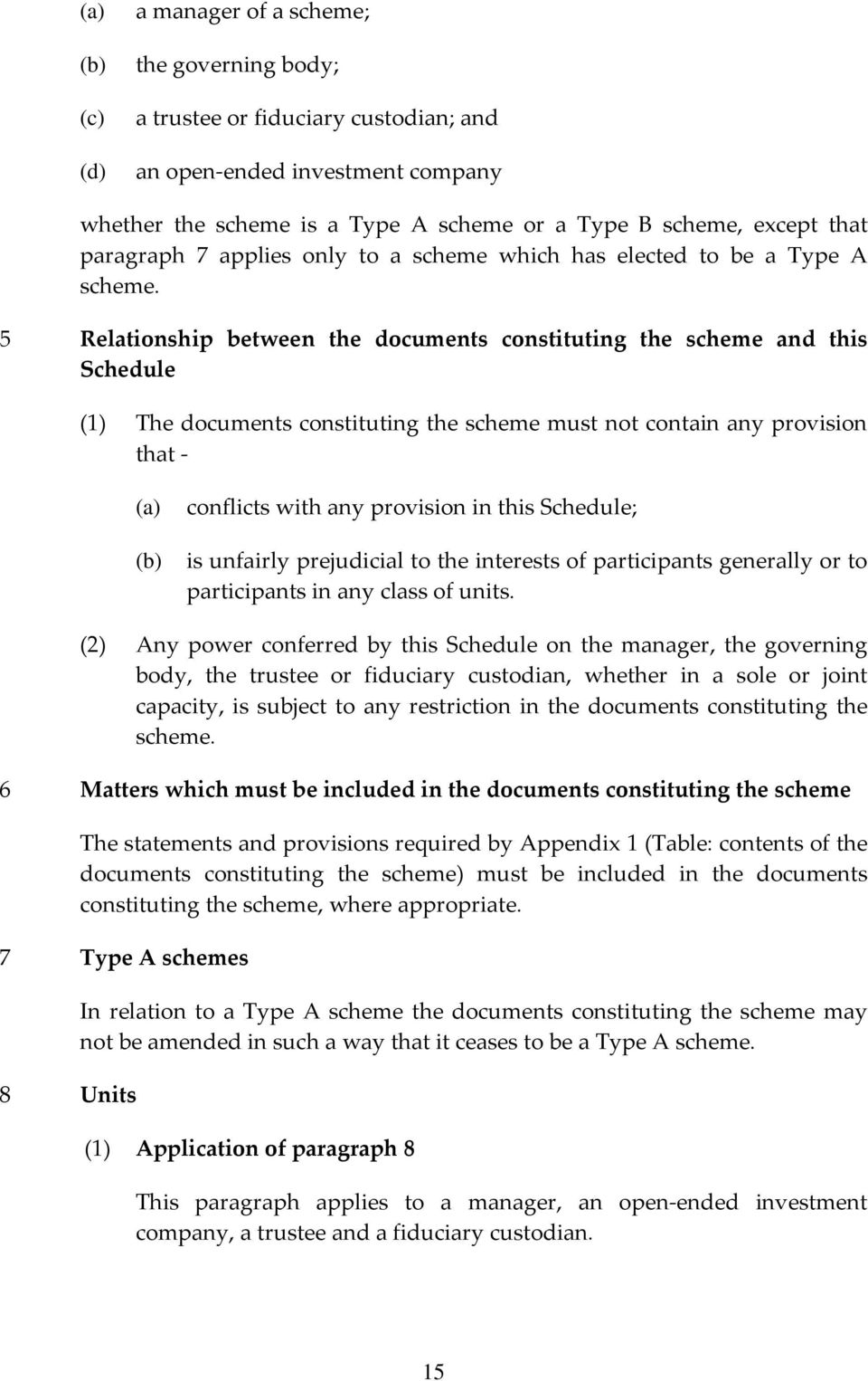 5 Relationship between the documents constituting the scheme and this Schedule (1) The documents constituting the scheme must not contain any provision that - conflicts with any provision in this