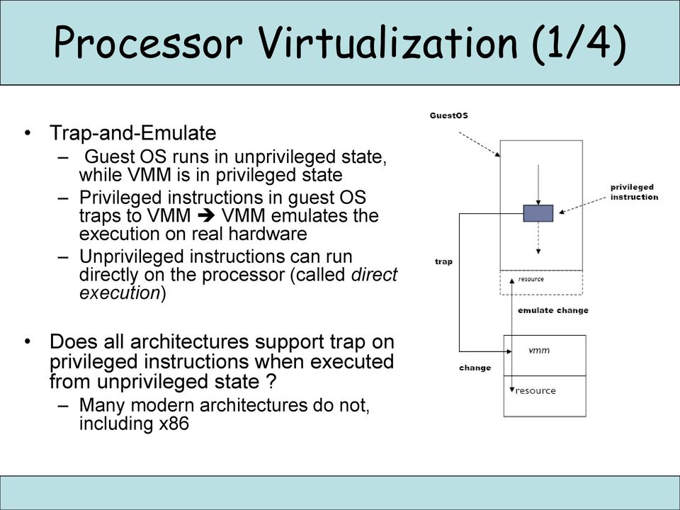 instructions can run directly on the processor (called direct execution) Does all architectures support trap on