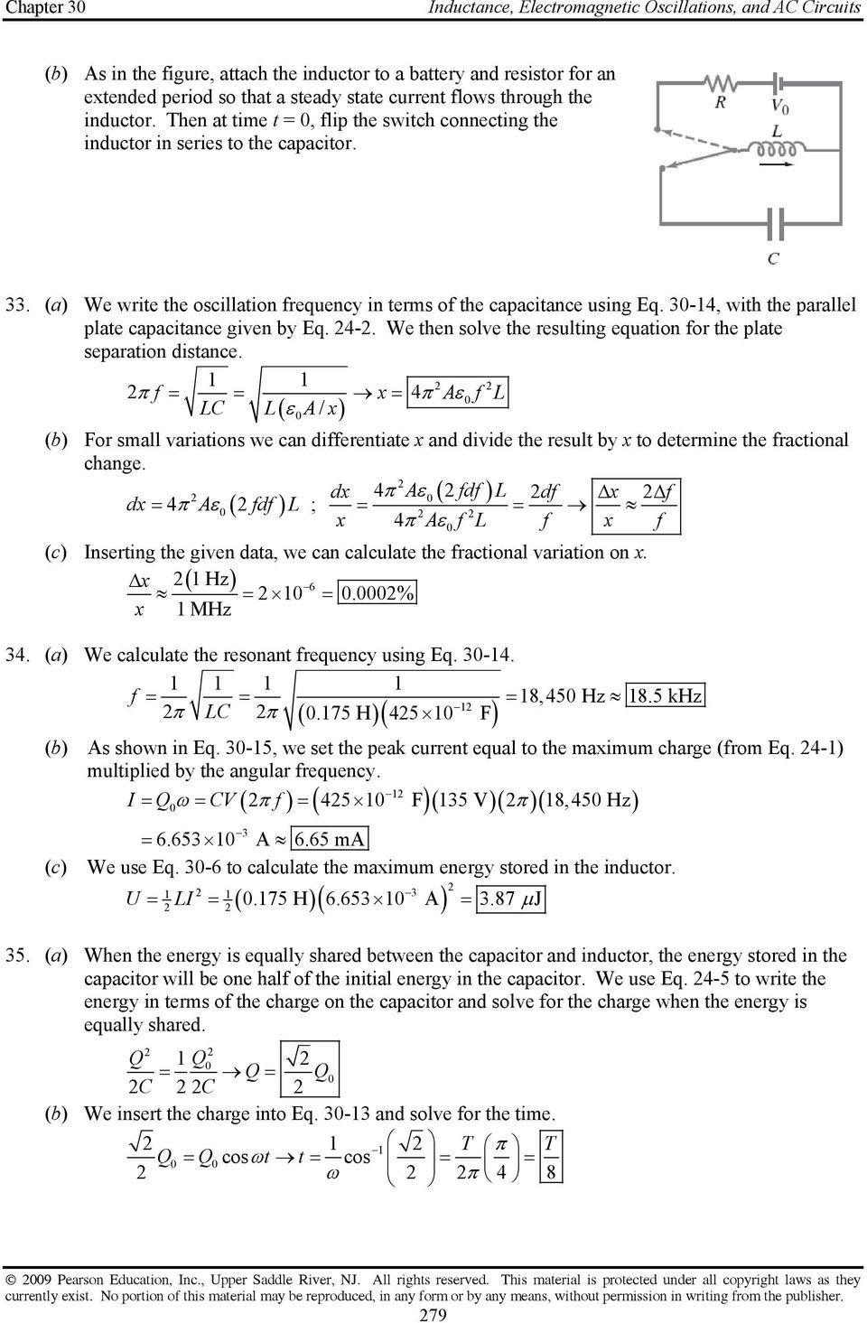 Chapter 30 Inductance Electromagnetic Oscillations And Ac Voltage Divider Calculator 3 4 With The Parallel Plate Capacitance Given By Eq