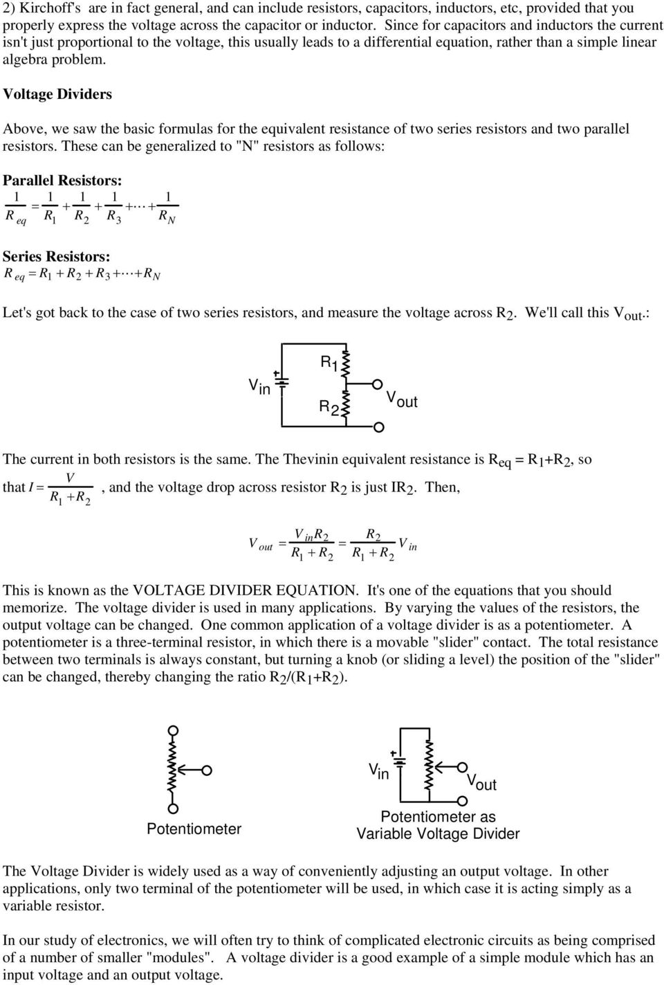 Chem 628 Lecture Notes Passive Circuits Resistance Capacitance Simple Series And Parallel Let Voltage Dividers Above We Saw The Basic Formulas For Equivalent Of Two