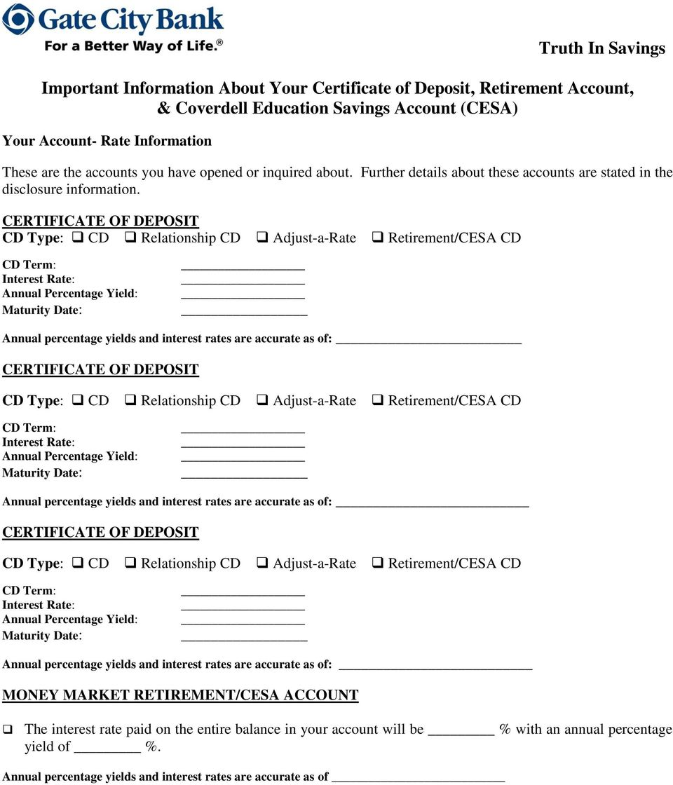 Important Information About Your Certificate Of Deposit Retirement