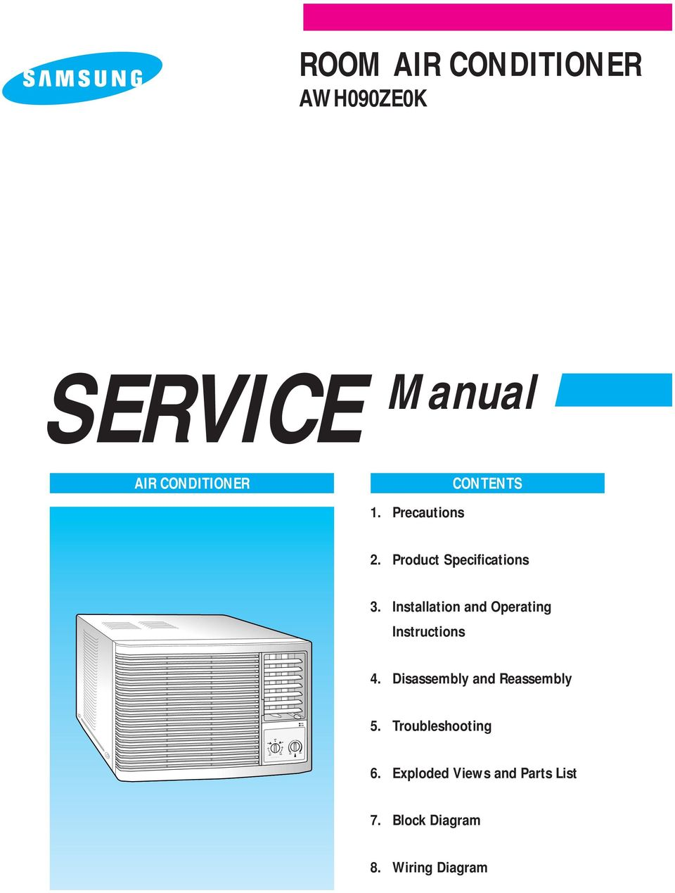 SERVICE Manual AIR CONDITIONER AWH090ZE0K. 1. Precautions. 2 ...