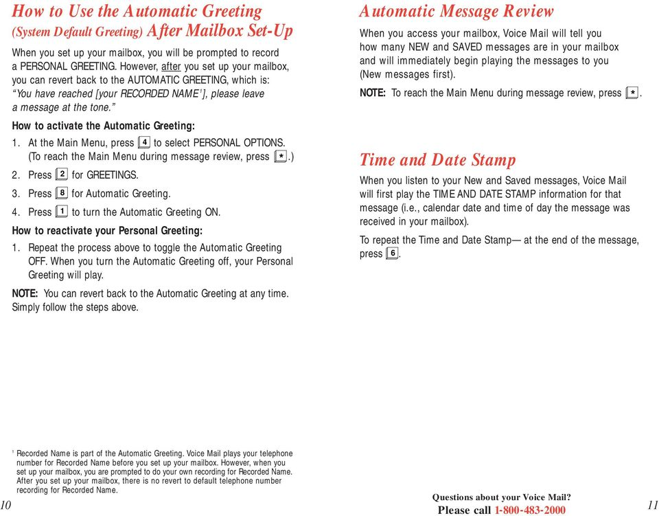 Business voice mail 9 user guide basic mailbox pdf how to activate the automatic greeting at the main menu press 4 to m4hsunfo