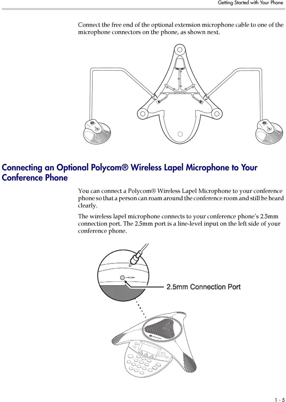 Connecting an Optional Polycom Wireless Lapel Microphone to Your Conference Phone You can connect a Polycom Wireless Lapel Microphone to your
