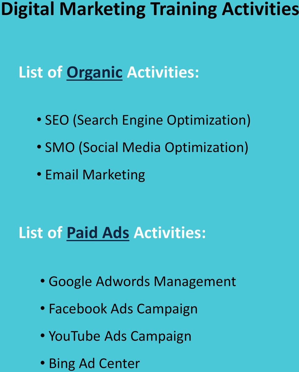 Optimization) Email Marketing List of Paid Ads Activities: