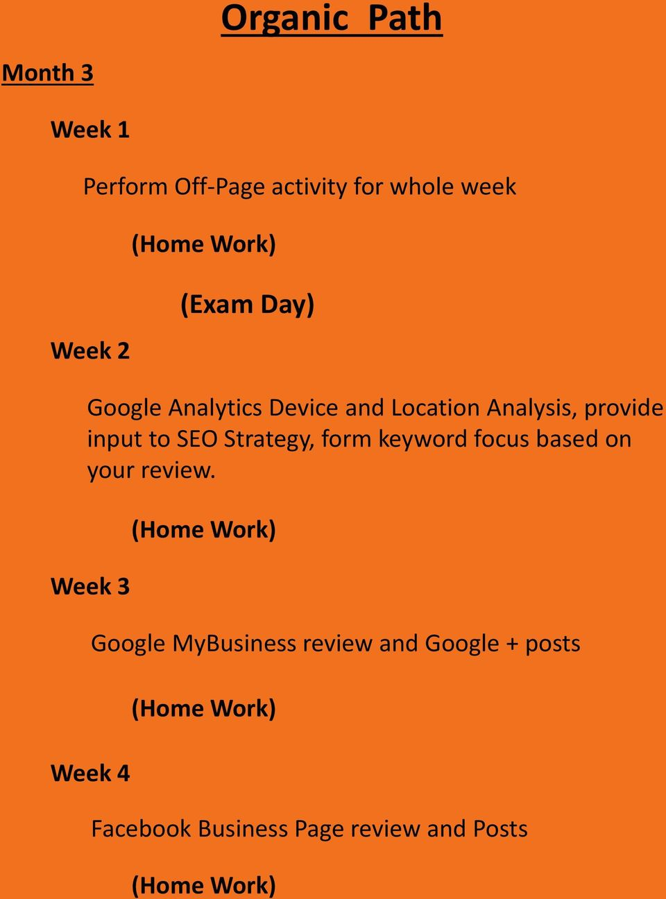 SEO Strategy, form keyword focus based on your review.