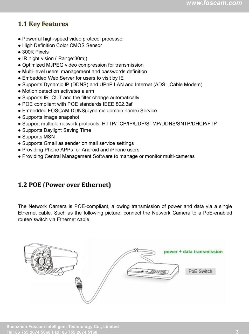 User Manual  Model: FI8905E  Outdoor PoE Network Camera - PDF