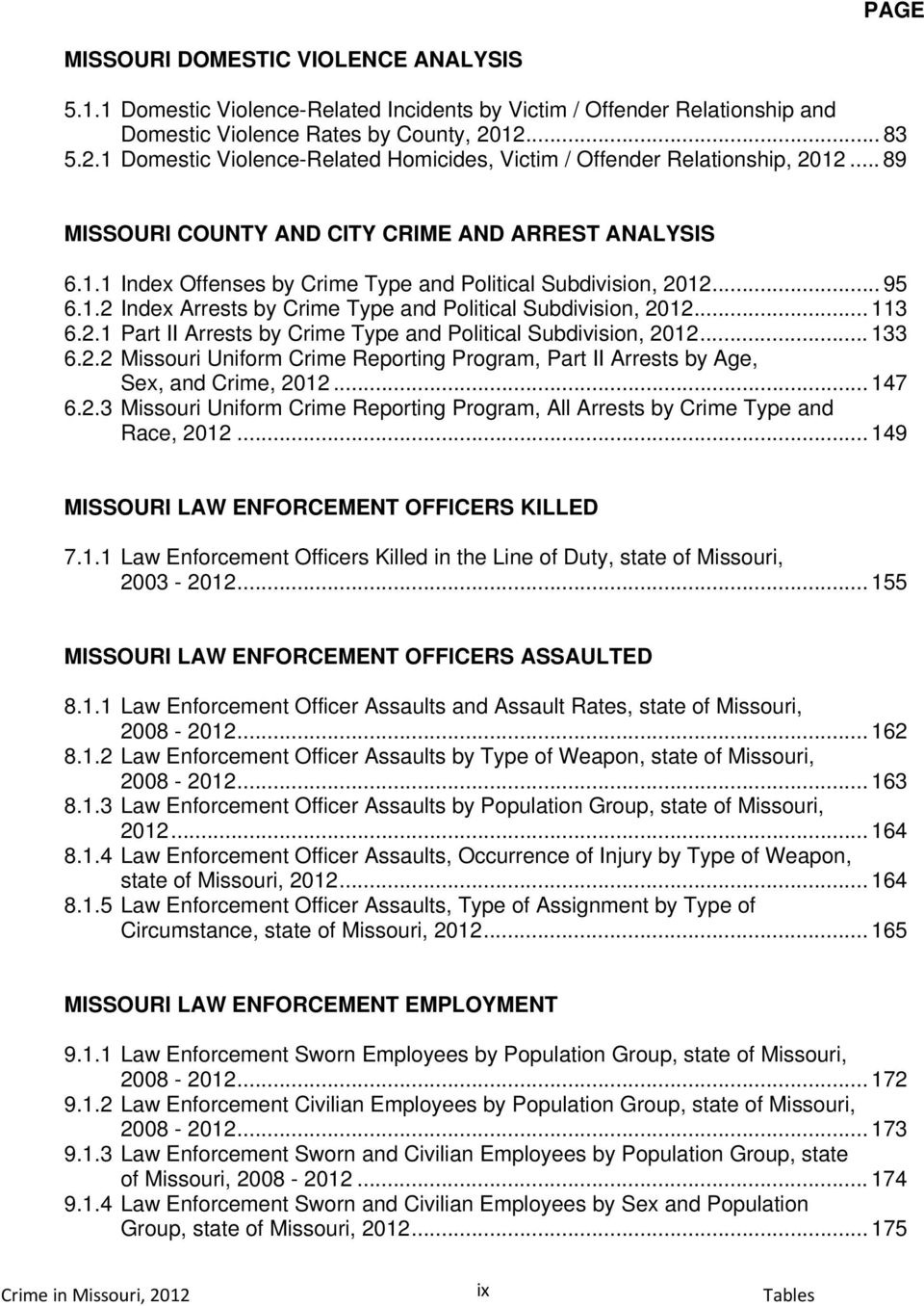.. 113 6.2.1 Part II Arrests by Crime Type and Political Subdivision,... 133 6.2.2 Missouri Uniform Crime Reporting Program, Part II Arrests by Age, Sex, and Crime,... 147 6.2.3 Missouri Uniform Crime Reporting Program, All Arrests by Crime Type and Race,.