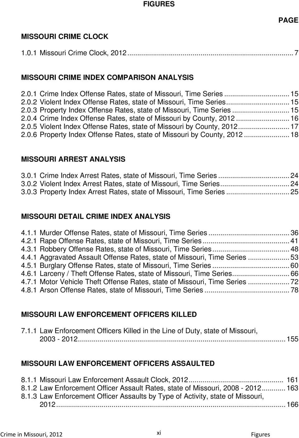 .. 17 2.0.6 Property Index Offense Rates, state of Missouri by County,... 18 MISSOURI ARREST ANALYSIS 3.0.1 Crime Index Arrest Rates, state of Missouri, Time Series... 24 3.0.2 Violent Index Arrest Rates, state of Missouri, Time Series.