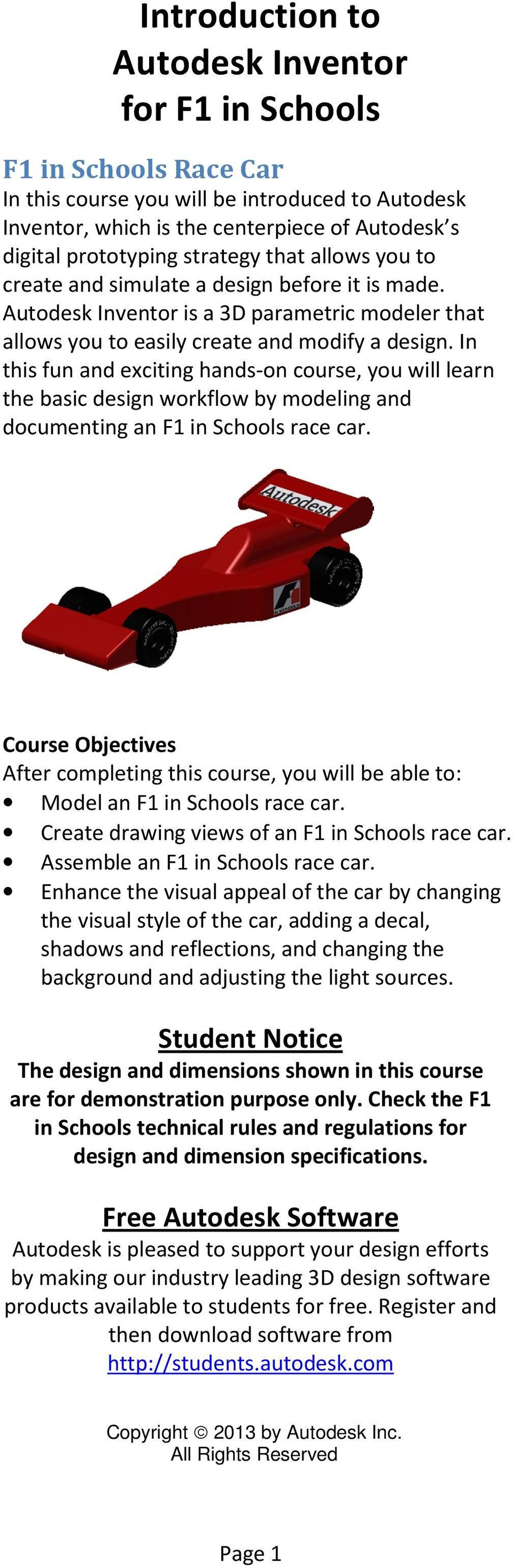 Introduction To Autodesk Inventor For F1 In Schools Pdf Free Download