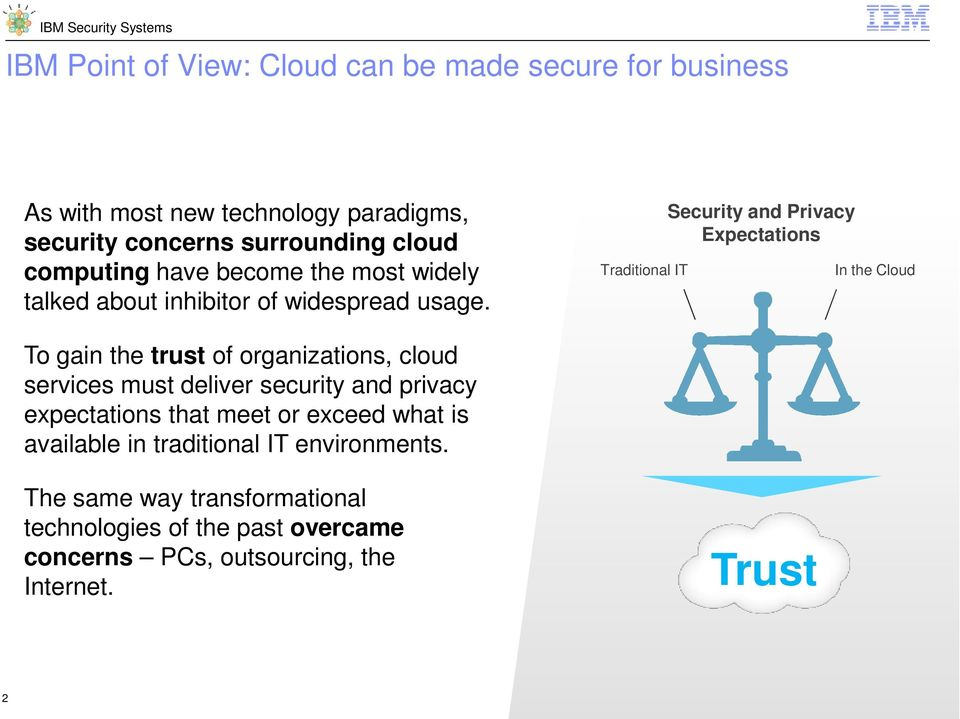 Traditional IT Security and Privacy Expectations In the Cloud To gain the trust of organizations, cloud services must deliver security and