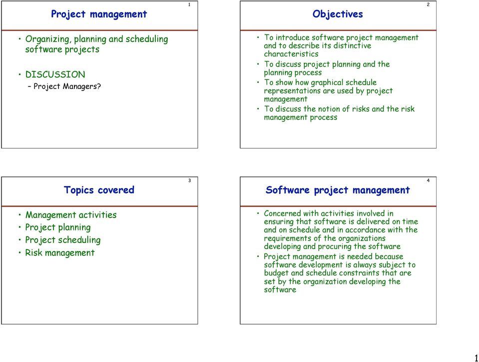 Project management  Objectives  Topics covered  Organizing