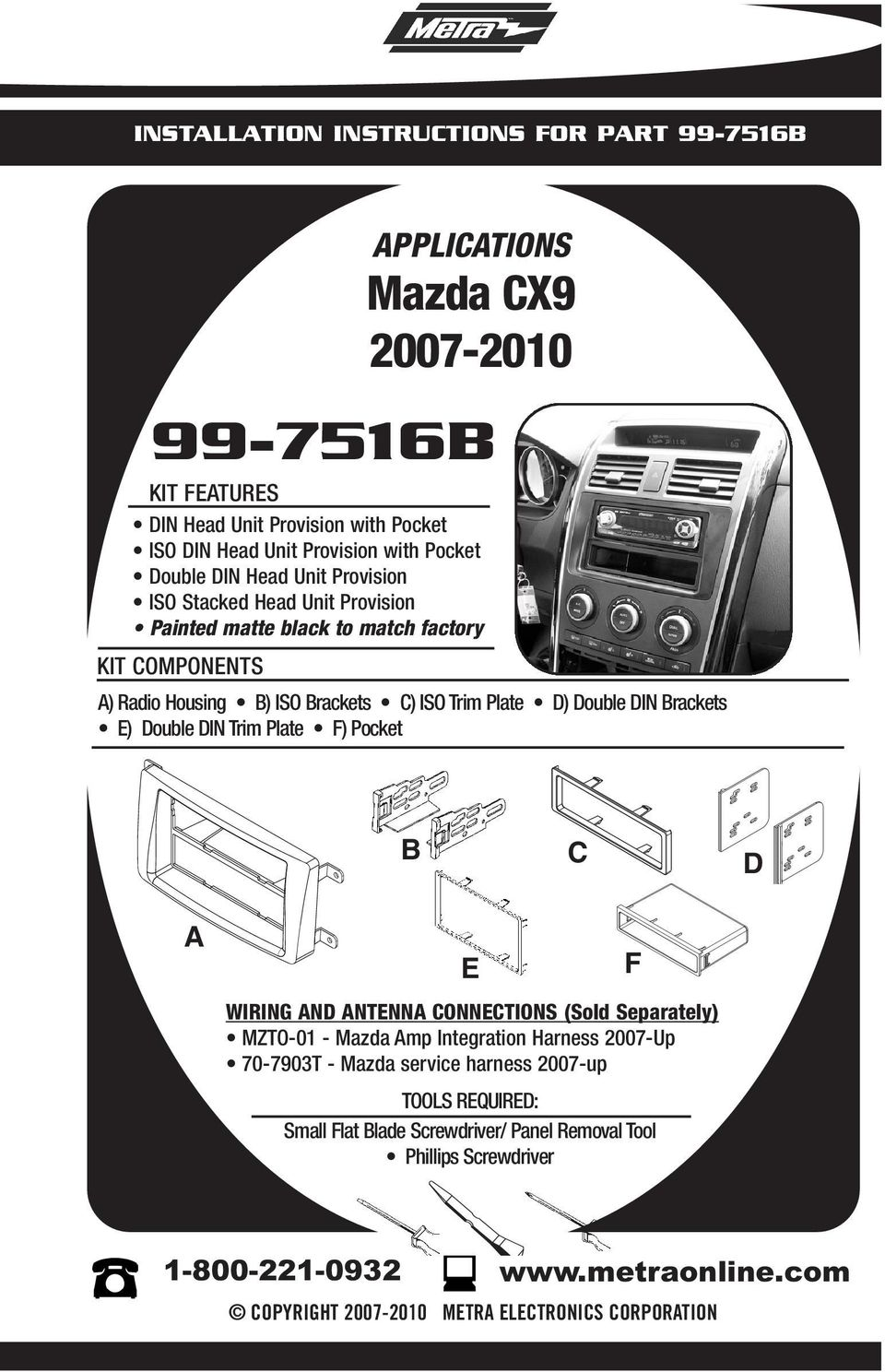 Installation Instructions For Part B Applications Mazda Cx Pdf Wiring Housing Rackets E Double Din Trim Plate F Pocket D Nd Ntenn Onnetions